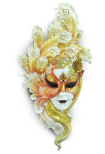 """NEW Large Peacock Mask Wall Plaque 22"""" L (White & Gold) Ship Immediately"""