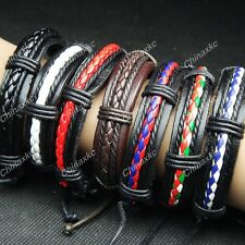 6pcs Wholesale jewelry lots Leather Mix Fashion Bracelets Bangles Free Shipping