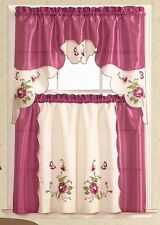 BUTTERFLY PURSUING ROSE. 3pcs EMBROIDERY kitchen curtain set. LILAC color