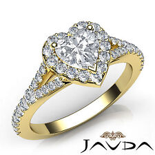 Heart Cut Diamond Halo Pave Set Engagement Ring GIA E VS1 18k Yellow Gold 1.22Ct