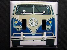 Light Switch Covers-Decoupage-VOLKSWAGEN BUS HIPPIE PRINT-Made to order