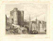 1828 ANTIQUE PRINT CARTER GLOUCESTER- WEST GATE AND BRIDGE FROM 1796 SKETCH