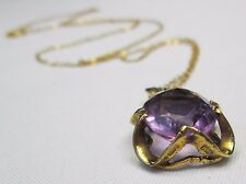 Vintage Chunky 9ct Gold Oval Cut Amethyst 7 Carats Pendant Necklace & Chain