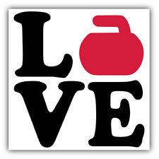 """Love Curling Sport Car Bumper Sticker Decal 5"""" x 5"""""""