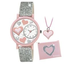 Tikkers ATK1014 Girls Silver Glitter Heart 3D Watch Gift Set with Necklace and P