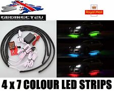 4x 7 Colour LED Strip Car Under Glow Underbody System Neon Light Kit NEW 2017 UK