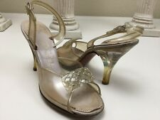 True Vintage 1940s Palter DeLiso Debs Clear Lucite Peep Toe Slingback Size 6 M