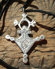 Medium Moroccan Tuareg cross hand engraved pendant with black tie