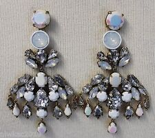 J CREW J CREW COLORFUL CRYSTAL CHANDELIER EARRINGS POSTS WHITE/CLEAR E3525