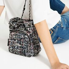 NEW ZARA 2016 MULTICOLOR MINI BOUCLE CHAIN QUILTED BACKPACK HANDBAG RARE