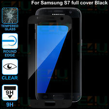2 x Black Full Cover Tempered Glass Screen Protector For Samsung Galaxy S7