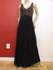 RONEN CHEN BLACK BROWN LONG MAXI A-LINE S/L COCKTAIL DRESS SZ M