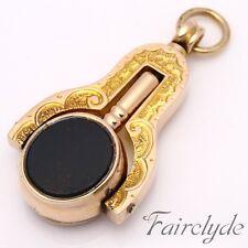 Mejor Calidad Antiguo 10ct Oro Giratorio sello FOB Reloj Key Colgante Regalo En Caja
