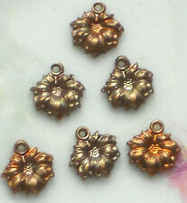 #534 Vintage brass Flower Charms Connectors Findings Stampings NOS Rose Flowers