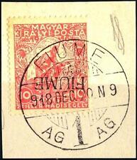 FIUME - 1918/19 - Franc. di Ungheria sovr. - 10 (+ 2) f. rosso - Sovr. capovolta