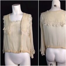 Vintage 1920s Creme Sheer Silk Embroidery Flapper Blouse Top Floral Lace Trim L