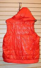 NEW WOMENS PLUS SIZE 3X BRIGHT ORANGE WET LOOKING HOODED ZIP BUTTON PUFFER VEST