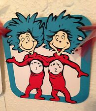 Dr Seuss themed Birthday Banner, Cat in the Hat party, Thing 1, Thing 2