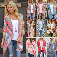 New Women Boho Long Sleeve Knitted Sweater Cardigan Casual Loose Poncho Coat Top