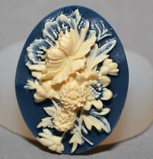 Floral Cameo  - SILICONE FLEXIBLE PUSH MOLD POLYMER CLAY FIMO MOULD BAKEABLE