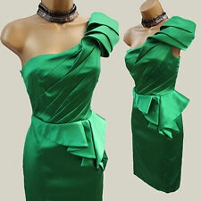 KAREN MILLEN Green Signature Satin One Shoulder Pleat Cocktail Pencil Dress 14