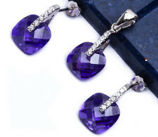 Cushion Cut Amethyst CZ .925 Sterling Silver Earring & Pendant Jewelry set