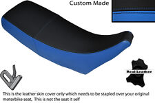 BLACK & LIGHT BLUE CUSTOM FITS HONDA MTX 125 DUAL LEATHER SEAT COVER