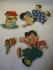 Vintage Dolly Toy Co. Jack and Jill Wall Decor Hang Ups 4 pc Set