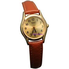 Casio Women's LTP1094Q-9B Brown Leather Quartz Watch with Gold Dial