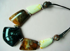 ACCESSORIZE NECKLACE - LARGE MARBLED SHAPES IN BLACK, BROWN & CREAM - BRAND NEW