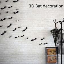 12Pcs 3D Halloween Hot Style Black Bat Decor Vinyl PVC Wall Stick Decor
