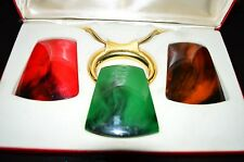 VTG 1970s BIJOUX LANVIN Lucite Interchangeable Pendant Necklace in Original Box
