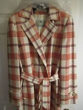 AQUASCUTUM VINTAGE COAT checked pure wool coat cream red blue 70's 80's WOW!!