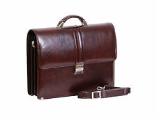 Gentlemens Real Leather Briefcase HIGH QUALITY Exclusive A4 Business Bag BROWN
