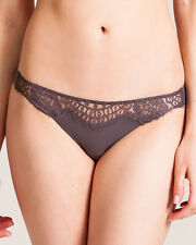La Perla thong IT4 L FR44 UK14-16 lace brown grey soft
