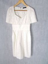 DOLCE GABBANA SIZE 38 UK 6-8 WHITE COTTON SILK LINED TEA DRESS AUTHENTIC D&G