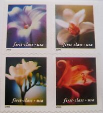 4 Flowers First-Class Block of 4 REMOUNTED Stamps Scott's 3454 to 3457