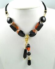 Handmade Necklace with leather, agate and agate