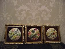 3 VINTAGE FRAMED MINIATURE HAND MADE CERAMIC BIRD PICTURES/PLAQUES STAFFORDSHIRE