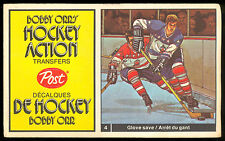 1972 73 POST HOCKEY ACTION TRANSFERS BOBBY ORR #4 jim mckenny vs ed giacomin EX+