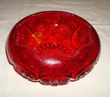 vintage  Daisy & Button Ruby Red candy dish bowl