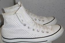 WOMENS WHITE SILVER STUDS CONVERSE TRAINERS SIZE UK 7 EUR 40 HI TOP SNEAKERS VGC