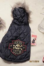 NEW ADORABLE SIMPLY DOG  BIKER DUDE BLACK QUILTED JACKET WT HOOD SZ SMALL