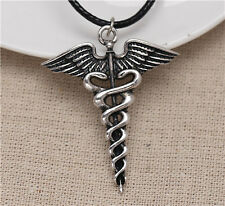 Percy Jackson Angel Wings Magic Wand Caduceus Pendant Necklace Christmas Gift