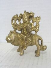 "Durga On Lion Brass Statue - 3"" by 3"""