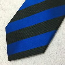 MENS CHARLES TYRWHITT SILK 9cm COBALT BLUE BLACK TEXTURED STRIPED SILK TIE