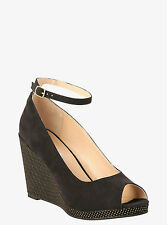 """Torrid Black Gold Stud Accents Ankle Strap Peep Toe 4""""  Wedges Shoes 9  W #43"""