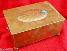 Antique Late 1800s China Chinese Brass & Wood Footed Lotus Blossom Cigarette Box