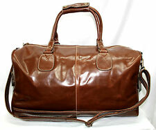 CHESTNUT BROWN LARGE HOLDALL PREMIUM LEATHER TRAVEL, SPORTS, GYM, WEEKEND BAG