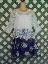 WHITE LACED TOP PURPLE FLORAL DRESS 16-18  NEW $698.00 CAREER CHURCH WEDDING